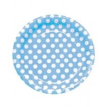 Pratos azul claro com bolinhas