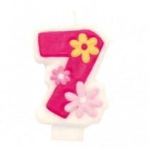 Vela Aniversário rosa 7