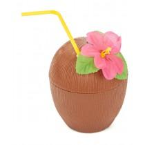 Copo Coco C/ Flor  e Palhinha
