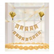 Topo de bolo HB dourado