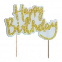 Vela Happy Birthday glitter dourado