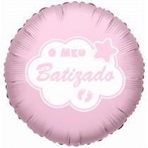 Balão Foil Batizado rosa