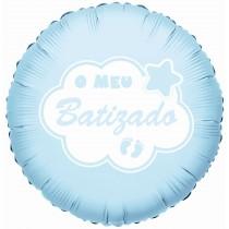 Balão Foil batizado azul