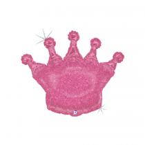 Balão Foil Coroa glitter rosa