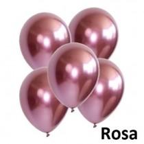 Balões latex rosa cromado 5...