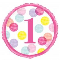 Balão Foil pintas 1st rosa