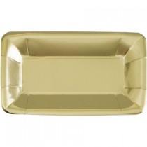 Prato papel retangular dourado