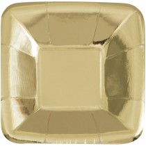 Prato quadrado dourado 12,7cm