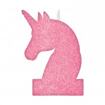 Vela Unicornio Rosa Glitter