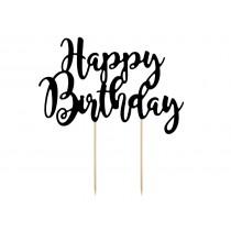 Topper Preto Happy Birthday...